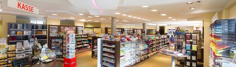 Panoramablick in das Bürobedarf Ladengeschäft von hamelberg BÜROSYSTEME in Rotenburg