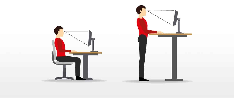 Grafik zur Ergonomie am Arbeitsplatz - sitzen und stehen