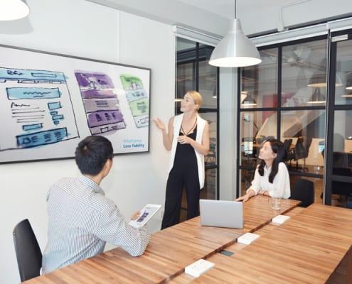 Kleines Meeting mit einem anzeigendem Display