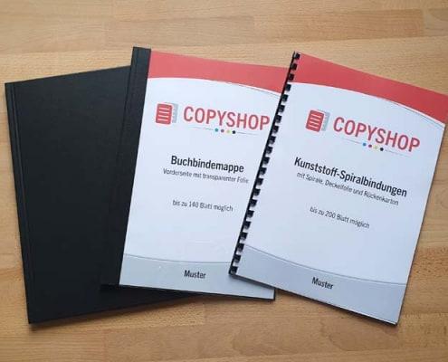 Verschiedene Bindemöglichkeiten im Copyshop