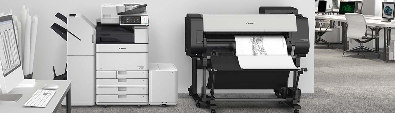Large Format Printing - Büroumgebung mit Large Format Printing von Canon im Vordergrund