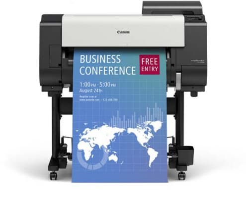 Large Format Printing - Produktbild des Großformatdruckers TX-2100 der gerad etwas ausdruckt